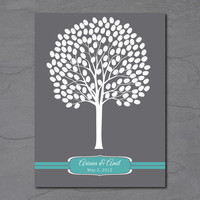 Fingerprint Tree Guest Book, Printable Guest Book Poster, Wedding Guest Book (18x24, up to 150 guests)
