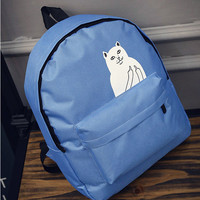 Women's Canvas Teenage Girls School Bags Cartoon Cat Female Travel Bag RIPNDIP Blue Backpack