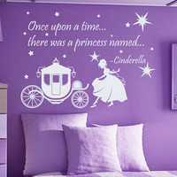 Wall Decals Quote Once Upon A Time There Was A Princess Cinderella Vinyl Decal Sticker Bedroom Interior Design Baby Girl Nursery Decor MR360