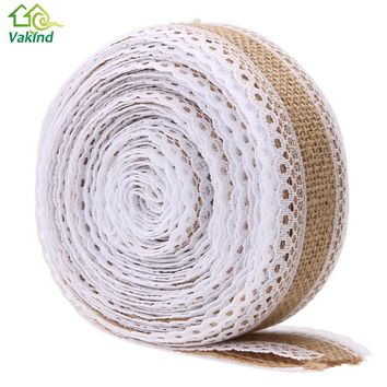 5M/Roll Marriage Linen Jute Burlap Ribbon Roll White Lace Trim for Christmas Wedding Party Decoration Rustic Wedding Craft