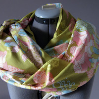 Green Pink Floral Hipster Chic Infinity Scarf