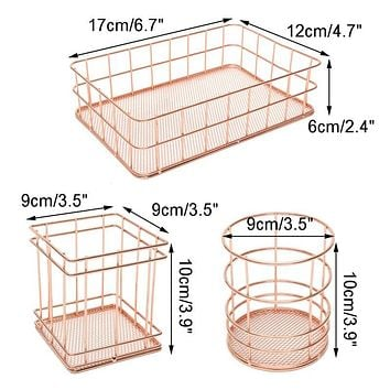Rose Gold Wire Mesh Storage Basket Pastoral Style Kitchen Dry Food Fruits Display Office Supplies Organiser Household Decoration