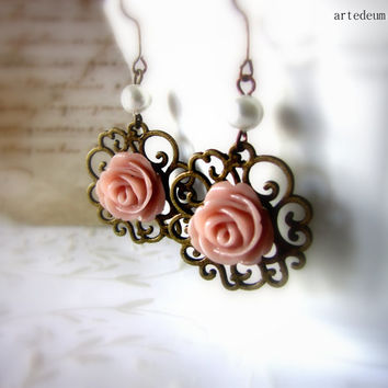 Flower earrings Antique style Romantic Pink roses dangles Vintage Inspired earrings - Roses are pink