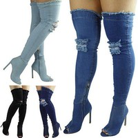 Denim  Over The Knee Thigh High Boots Women Jeans Boots