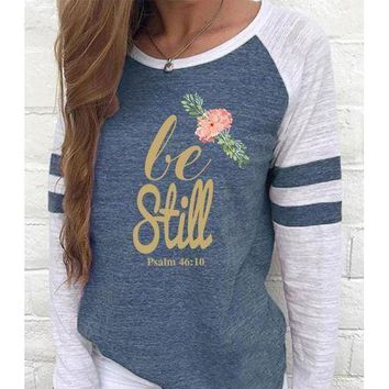 Be Still Women's Baseball Jersey Christian Semi-Fitted Long Sleeve Shirt