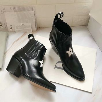 Dior Trending Women Black Leather Ankle Boots Shoes Best Quality