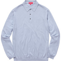 Supreme: Knit L/S Polo - Light Blue
