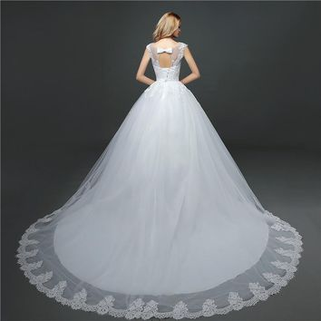 Girls Wedding Dresses O Neck Lace Sequined Bride Gown Princess