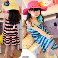 New Girls Children Striped Suspenders Dress 5 pcs/lot Girls Baby Summer Fashion Striped Vest Dress Children's Dresses
