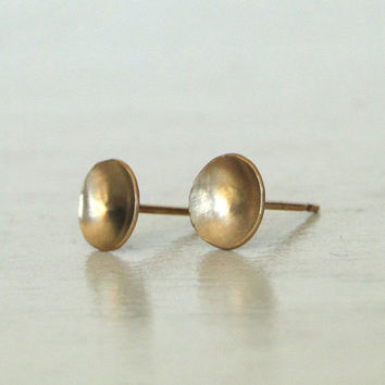 Gold Stud Earrings - 14K Gold Filled Stud Earrings - Petite Round or Square Earring Studs - Everyday Wearable Jewelry by Gioielli Designs