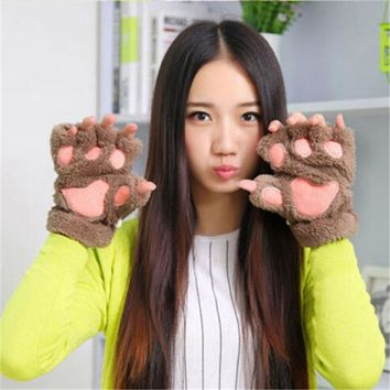 Cotton Women Fashion UK STOCK Cat Bear Paw Claw Half Finger Gloves Warm Cute Womens Xams Party