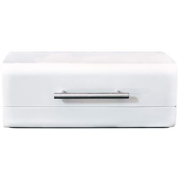 White Sleek Modern Bread Box For Kitchen Counter - Steel Bread Storage Bin By Cooler Kitchen
