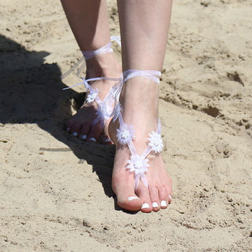 Foot Jewelry, White Bare Foot Sandals, Footless Sandles, Destination Beach Wedding Nude Shoes,  Anklets, Barefoot Sandals