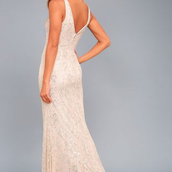 Gleam and Glam Blush Lace Maxi