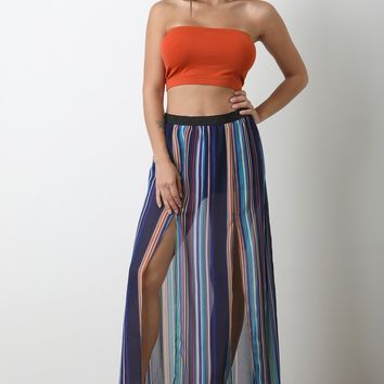Semi-Sheer Striped Slit Maxi Skirts
