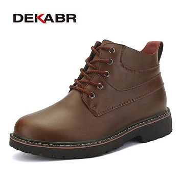 Men Winter Boots High Quality Genuine Leather Snow Boots Men Warm Working Shoes Men Waterproof Ankle Boots