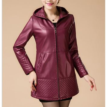 Women's clothing 2017 autumn and winter female leather jacket outerwear long leather coat new fashion jackets and coats plus 5XL
