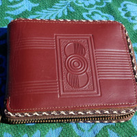 1960s GENUINE COWHIDE Zipper Wallet by Accurate Leathers