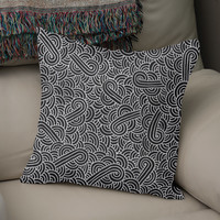 «Faux silver and black swirls doodle», Numbered Edition Coussin by Savousepate - From 25€ - Curioos