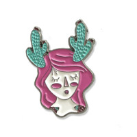 Cactus Prickly Girl with flowers Enamel Pin