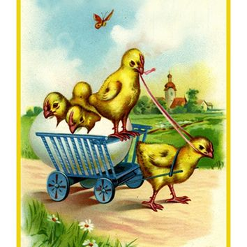 Vintage Easter Baby Chick in a Cart Counted Cross Stitch Pattern