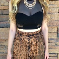 Black Sweetheart Neckline Mesh Crop Top