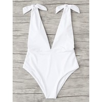 Women's White Deep V Plunge Shoulder Tie Knot One Piece Monokini Swimsuit