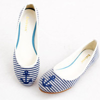 Retro Striped Anchor Pattern Flat anchor Shoes