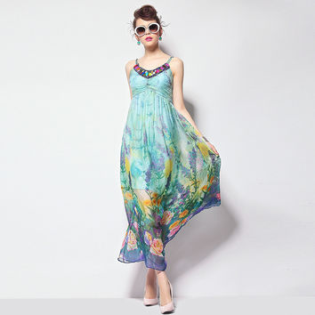 Neck Beaded Floral Print Maxi Dress