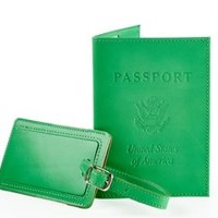 Leather Passport /Luggage Tag, Green, Passport Cases