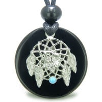Amulet Howling Wolf Dream Catcher Magic Circle Black Agate Spiritual Pendant Necklace