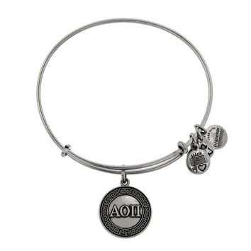 Alex and Ani Alpha Omicron Pi Charm Bangle - Rafaelian Silver Finish