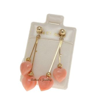 GENUINE PINK CORAL HEART DOUBLE DANGLE EARRINGS SOLID 14K YELLOW GOLD 8.5MM
