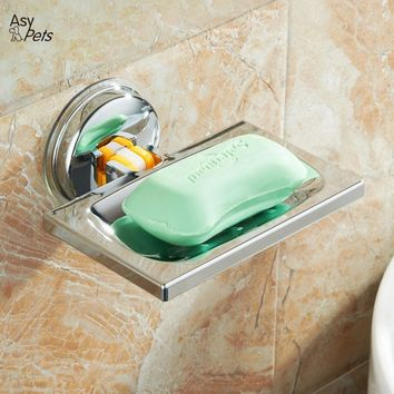 AsyPets Strong Metal Suction Wall Soap Holder Dish Basket Tray Bathroom Shower Soap Cup-30