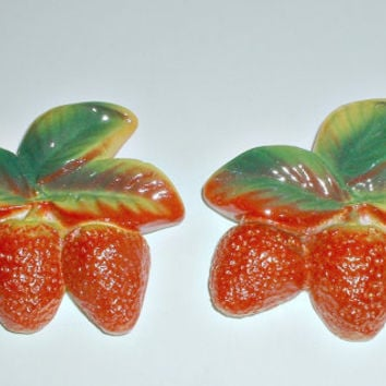 Vintage Chalkware Strawberries in Original Boxes Set of 2 Wall Hangings Plaques
