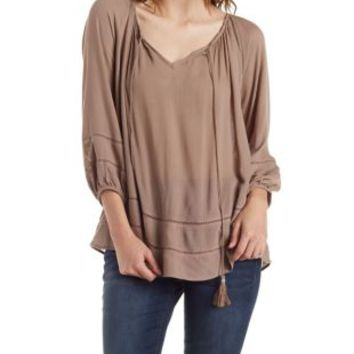 Taupe Tassel Front Peasant Blouse by Charlotte Russe