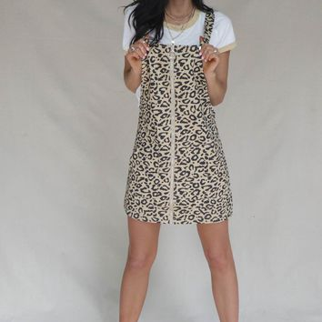 Try Harder Tan Leopard Overall Dress