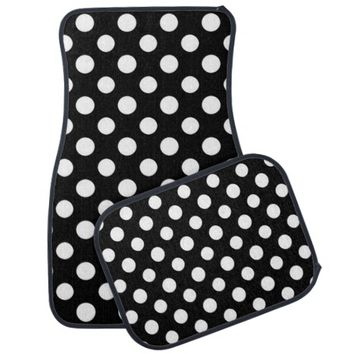 Black and White Polka Dot Pattern Car Floor Mat