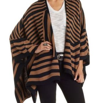 Black Combo Striped Cascade Poncho Sweater by Charlotte Russe
