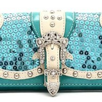Sequins Western Rhinestone Buckle Classic Wallet (Turquoise)