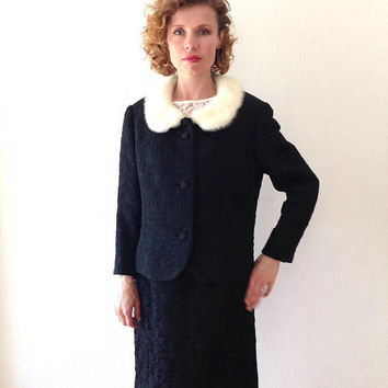 1950s Suit mink fur collar 50s Loden Frey black jacquard suit jacket and skirt 2 pc. vintsage 50s suit