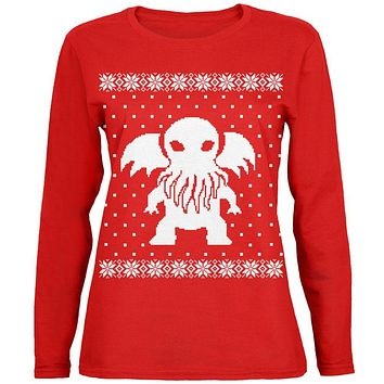 Big Cthulhu Lovecraft Ugly Christmas Sweater Womens Long Sleeve T Shirt