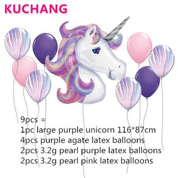 9Pcs Birthday Party Decorations Kids Foil Balloons Unicorn Balloon Party Supplies Wedding Anniversary Decor Rainbow Globos Latex