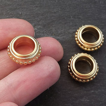 3 Extra Large Bali Style Bobble Rim Collar Saucer Bead Spacers - 22K Matte Gold Plated Round