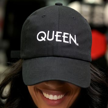 Queen polo dad hat, black
