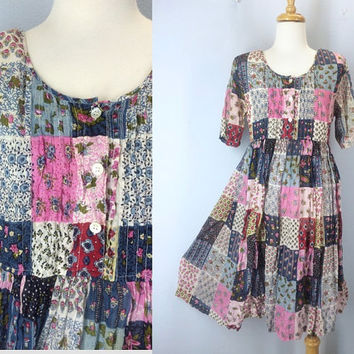 Vintage Gauze Summer Dress, Patchwork Dress, Soft Dress, Boho Dress, Hippie Dress, Babydoll Dress, 80s 1980s Dress