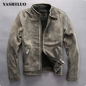 Vintage Men's Fashion cow leather motorcycle rider jacket collar embroidery leather motorcycle rider cowhide leather jacket