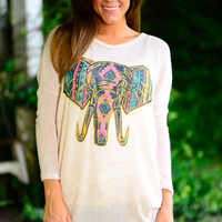 Aztec Elephant Sweater, Oatmeal
