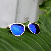 Gold Mirrored Sunglasses - Blue Lenses