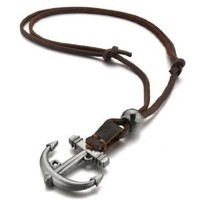 Men's Alloy Genuine Leather Pendant Necklace Adjustable Silver Anchor Vintage-with Chain (with Gift Bag)